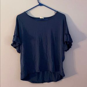 Caution into the wind blue short sleeve blouse